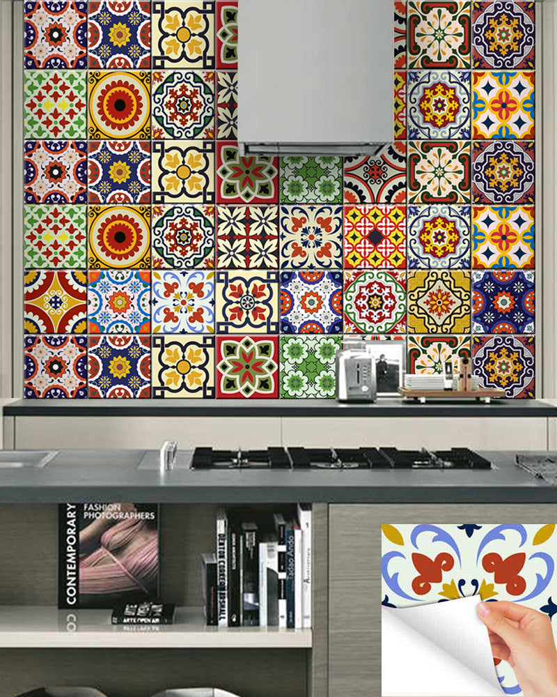 retro kitchen tile stickers 24 units tile decals diy set of 24 vintage mural bathroom 4821