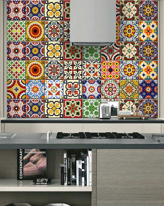 Set of 24 tile stickers Back splash Talavera style stickers mixed for walls Kitchen bathroom Stair decals D