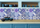 Home decor tile DIY Set of 24 vintage mural Stair decal/Tile/wall :Mexican Talavera style- 12 DESIGNS-X 2 SETS (24 pieces) V15