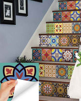 24 tile stickers Mexican Talavera style stickers mixed for walls Kitchen bathroom Stair decals C