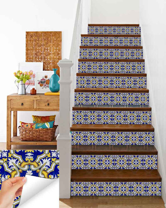 Stairs Ideas Diy Set Of 24 Blue Shades Mexican Tile Kitchen Decals Bathroom Decals Pattern Talavera Tiles H12