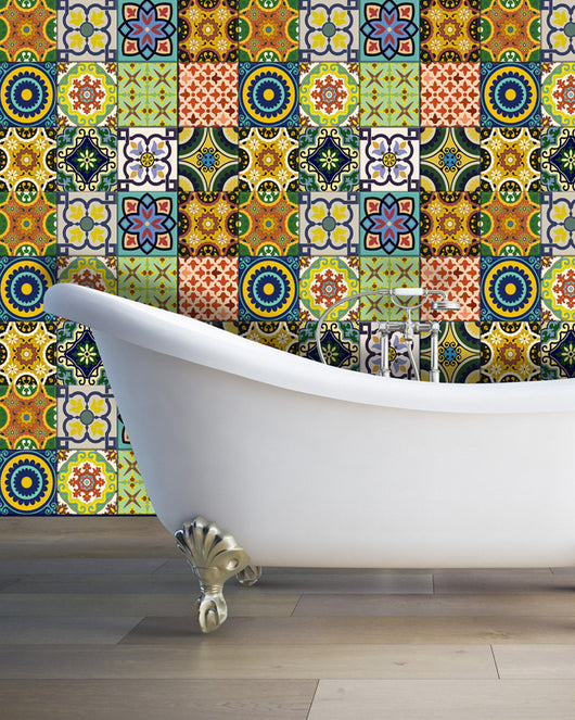 C400 Set of 24 vintage traditional mexican Tiles Decals bathroom stickers Tiles for walls Kitchen decor idea DIY tile C400