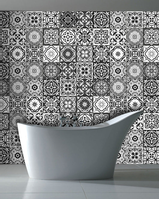 Black & white tile decals tile stickers kitchen deals bathroom tiles decals DIY decor idea backsplash kitchen decor idea SB15