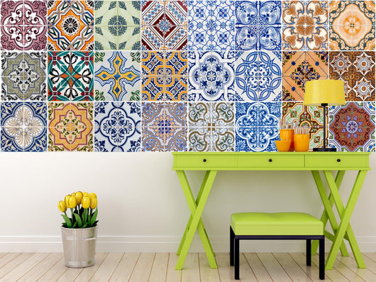 Set of 24 Tiles Decals Tiles Stickers mixed Tiles for walls Kitchen Bathroom HA3