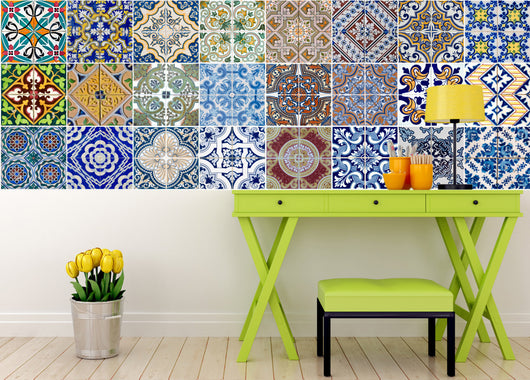 Tile/wall/decal spenish style- 24 TILES X 2 sets  (48 pieces) mixed Tiles adesivi per piastrelle HA1