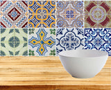 Tiles Decals Tiles Stickers Set of 8 color mixed BLUE Antique authentic spenish Tiles for walls Kitchen Bathroom HB3