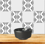 Tiles Decals Set of 20 Black & white home design decoration wall Tiles Stickers mexican tile decal Kitchen Bathroom BKW6