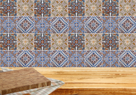 Mixed Tiles of 24 Decal ceramic wall Kitchen Bathroom ceramic Mexican Decals Indian Stickers walls Accessories H403