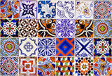 Talavera Bathroom Tile Sticker Set of 24 Tiles decal mixed Tiles for walls Kitchen home decoration Mexican tile S2