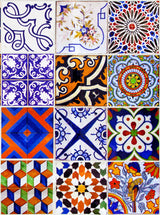 Kitchen Tile Sticker Set of 24 decals mixed Tiles for Bathroom home decor authentic Spanish ancient tile S3