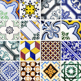 Talavera Spanish tile Set of 16 Tiles Decals Tiles Stickers Tiles for walls Kitchen Bathroom decals V2