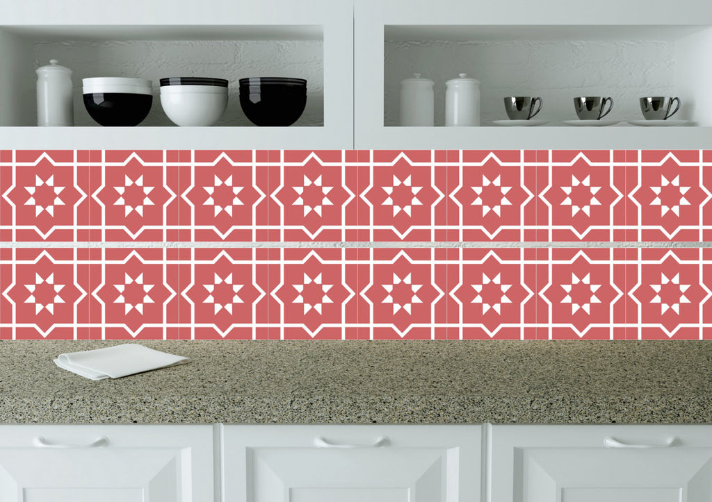 Red Bath Tile Mexican Tile Stickers Set Of 20 Tiles Stars Decals Wall Alegria M