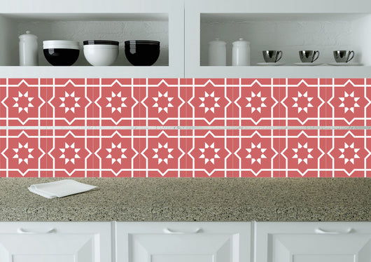 Red Bath tile Mexican Tile Stickers Set of 20 Tiles stars Decals wall mural Kitchen tiles K7