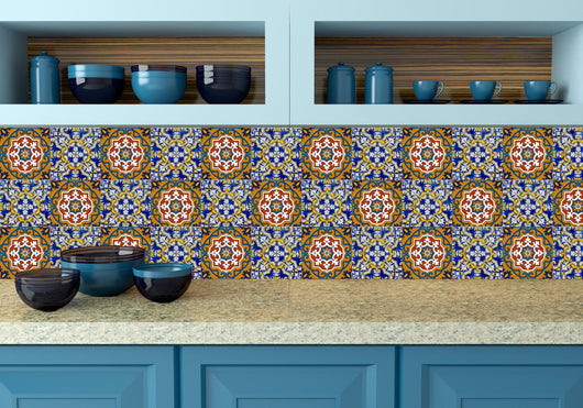 Talavera Mexican tile wall decal Set of 20 blue shades Mexican tile Kitchen decals bathroom decals Azulejos pattern tiles