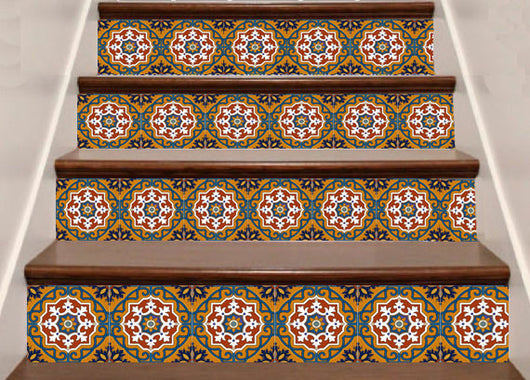 staircase tile decal 48 pcs mexican Tile bullnose tile also for kitchen/ bathroom Decals stairs tile stickers C1