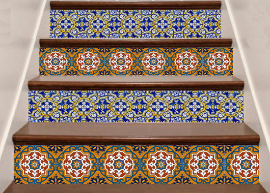stairs tile set of 48 decal mexican Tile bullnose tile also for bathroom/ kitchen Decals tile stickers C1
