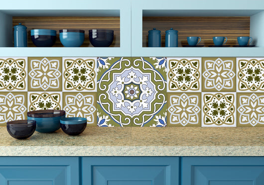 Mexican Tile Set of 20 Tiles Decals Tiles Stickers Tiles for walls Kitchen decals Bathroom decals wall decals N2