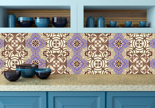kitchen bathroom Purple Tile Set of 24 Tiles Decals Tiles Stickers Tiles for walls Kitchen decals Bathroom decals wall decals N6