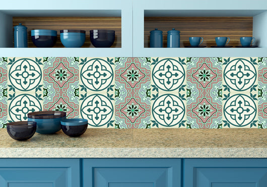 decals bathroom turquoise Tile Set of 24 Tiles Decals Tiles Stickers Tiles for walls Kitchen decals Bathroom decals wall decals N9