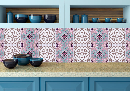 decals bathroom Fuchsia blue Tile Set of 24 Tiles Decals Tiles Stickers Tiles for walls Kitchen decals Bathroom decals wall decals N10