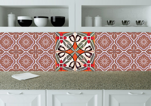 traditional tile RED STICKERS DECALS home decor tile stickers wall decals Set of 24 tiles decals Kitchen decals bathroom decals tavalera N18