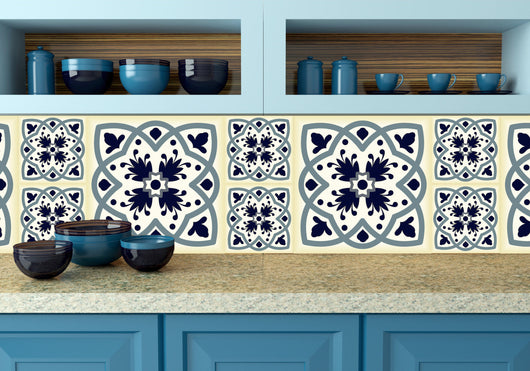 Mexican tile stickers wal decal Set of 24 blue shades Mexican tile Kitchen decals bathroom decals tavalera blue N12