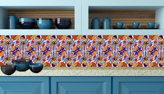 Talavera Bathroom decals tile Set of 24 animal Azulejos Talavera Tiles home design decoration Tiles Stickers mexican tile decal Kitchen S4