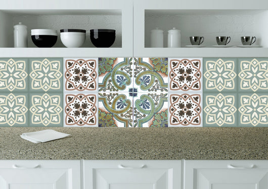 Mexican tile Modern tile stickers wall decals home decor Set of 24 tiles decals Kitchen decals bathroom decals tavalera N22