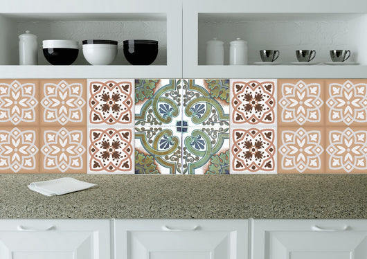 Orange decals tile Modern tile stickers wall decals home decor Set of 24 tiles decals Kitchen decals bathroom decals tavalera N23