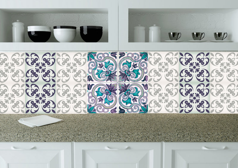 24 Set Mexican tile Stickers wall decals home decor Kitchen design Bathroom C400