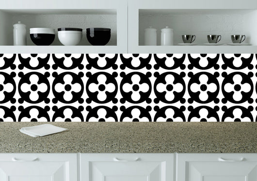 Kitchen Tile Sticker Set of 24 decals BLACK Tiles for Bathroom home decor authentic Spanish ancient tile BWK3