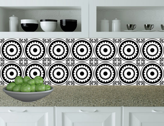 Tiles Decals Set of 24 Black & white home design decoration Tiles Stickers mexican tile decal Kitchen Bathroom BKW4