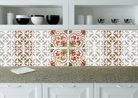 tile red Set of 24 tile stickers wall decals home decor tiles decals Kitchen decals bathroom decals Spanish tile N29
