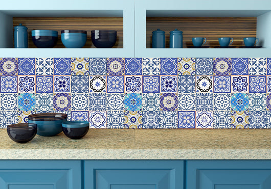 Tile/wall/decal spenish style- 24 TILES X 2 sets  (48 pieces) mixed Tiles adhesivo de azulejo B1