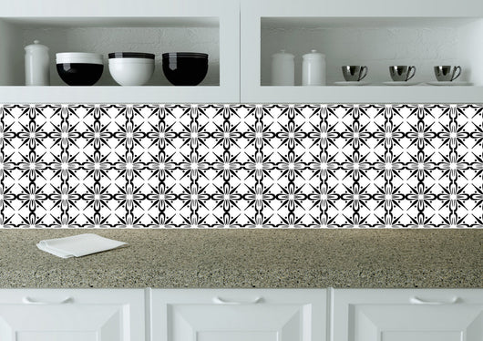 Tiles Decals Set of 24 Black & white home design decoration wall Tiles Stickers mexican tile decal Kitchen Bathroom BKW2
