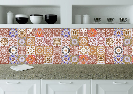 Kitchen design DIY 24 tile stickers Mexican Talavera style Splashback stickers mixed wall decals Kitchen decals bathroom Stair decals SB13