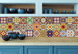 DIY Set of 24 vintage mural mexican Tiles Decals bathroom stickers mixed Tiles for walls Kitchen home decor D
