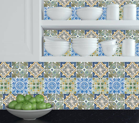 Set of 24 tile stickers Mexican Talavera style Splashback stickers mixed for walls Kitchen bathroom Stair decals H405