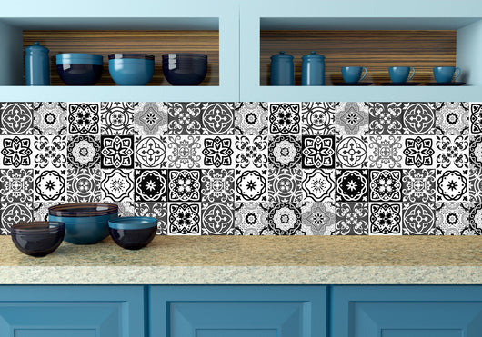 Black and white design 24 tile stickers Mexican Talavera style Splashback stickers mixed for walls Kitchen decals bathroom Stair decals SB15