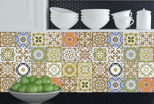 Kitchen design DIY 24 tile stickers Mexican Talavera style Splashback stickers mixed green decals Kitchen decals bathroom Stair decals SB12