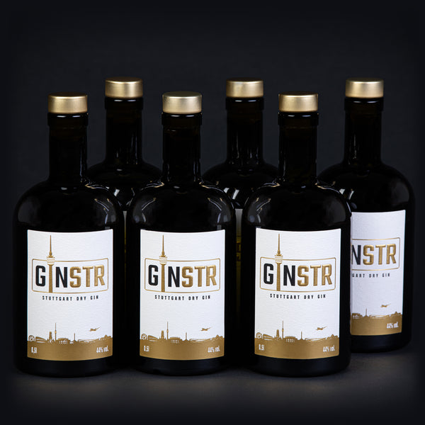 SIX BOTTLES OF GINSTR - STUTTGART DRY GIN (6 x 0,5l)