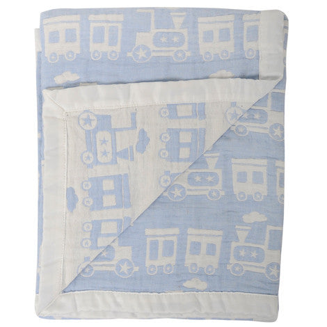 Silvercloud Double Sided Muslin Blanket Train - minimuslimplayground