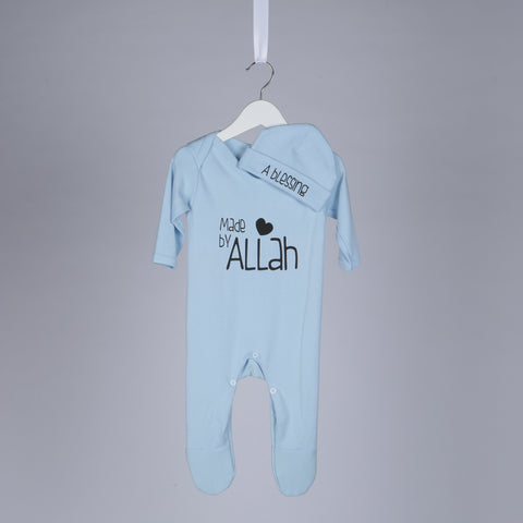 A Blessing Made By Allah Islamic Baby Gift Set in Baby Blue - minimuslimplayground