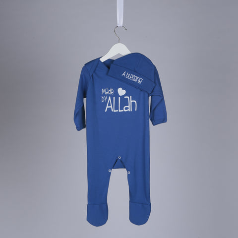 A Blessing Made By Allah Islamic Baby Gift Set in Royal Blue - minimuslimplayground