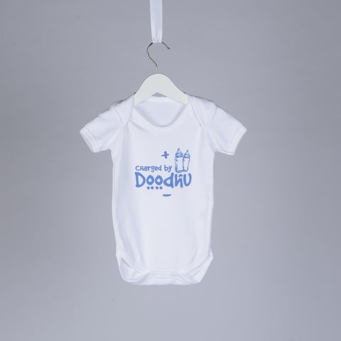 Charged By Doodhu Baby Vest in Blue - minimuslimplayground