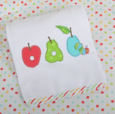Very Hungry Caterpillar Fruits Applique Pram Blanket - minimuslimplayground
