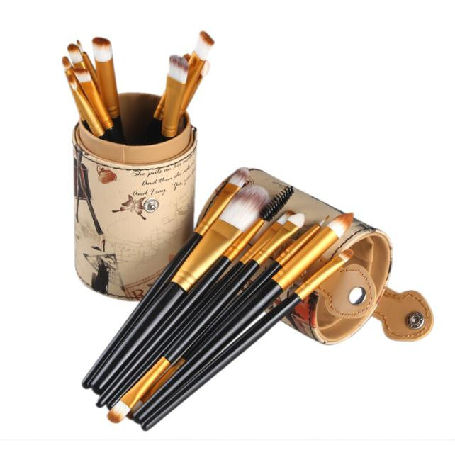 20pcs Maange Professional Makeup Brushes Leather Cup Holder Case