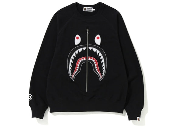 "BAPE APPLIQUE METAL ZIP SHARK CREWNECK ""BLACK"""