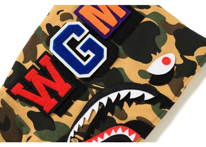 "BAPE DETACHABLE SHARK HOODIE ""YELLOW CAMO"""