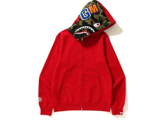 "BAPE SHARK FACE HOODIE ""BLACK/RED"""